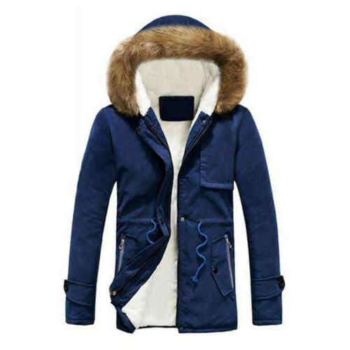 Mens Winter Hooded Jacket Military Fur lined Parka