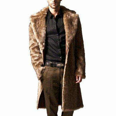 New Mens Warm Faux Fur Jackets Parka Warm Outwear Coat
