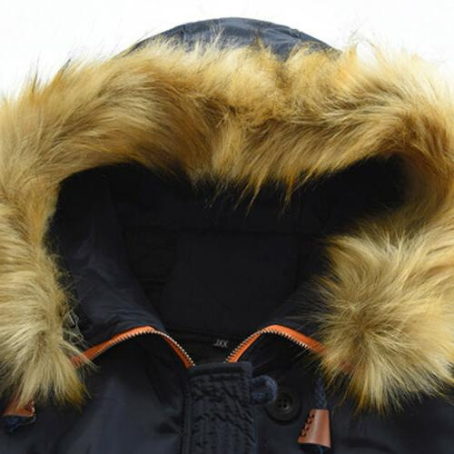 Men Hooded Long Winter Warm Thick Fur Jacket Parka US