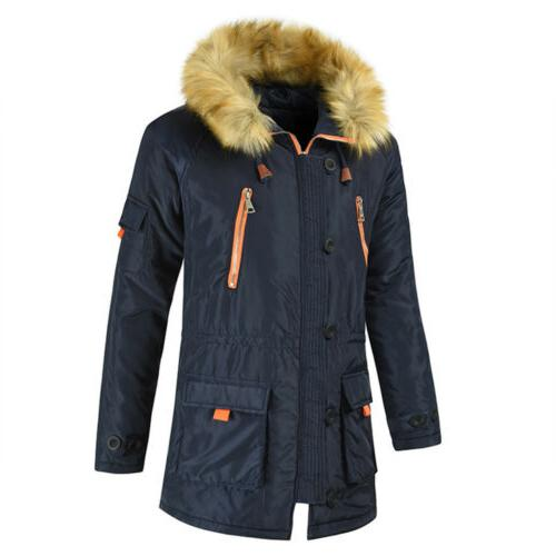 Men Hooded Winter Hooded Fur Parka US