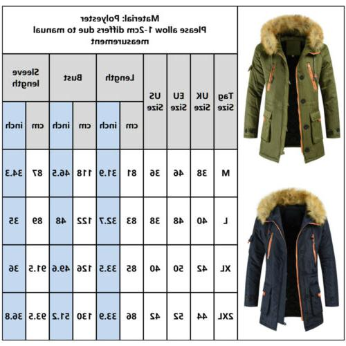 Men Hooded Winter Warm Thick Fur Parka US