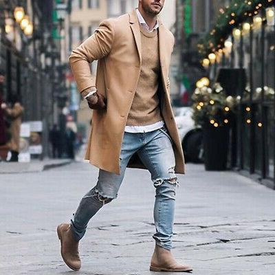 Mens Winter Trench Long Breasted