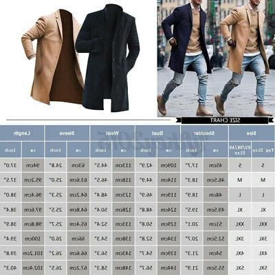 Mens Trench Long Jacket Single Breasted Overcoat