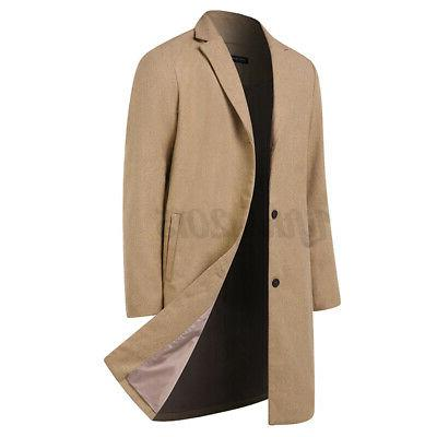 Mens Coat Trench Jacket Breasted