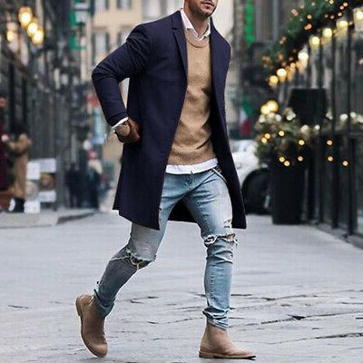 Mens Winter Coat Trench Breasted Overcoat
