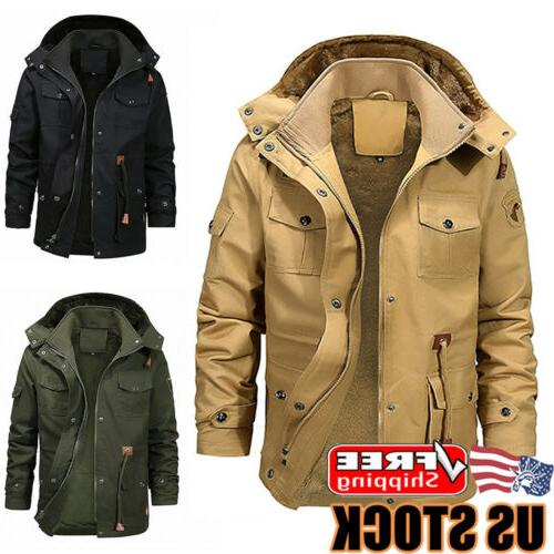 mens winter warm thick fur lined jacket