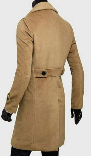 Mens Trench Coat Double Breasted Overcoat Long