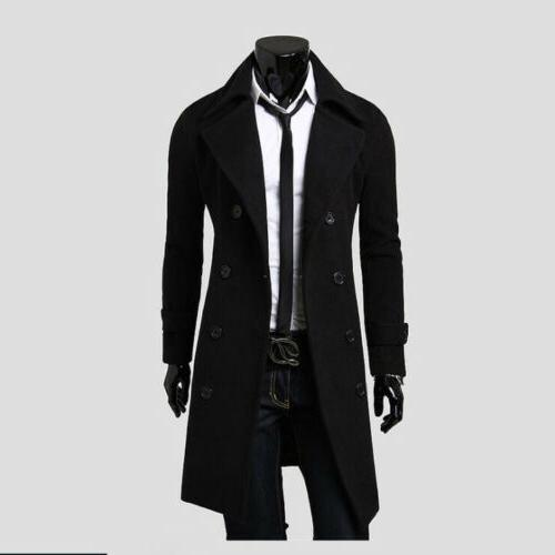 Mens Wool Trench Double Overcoat Outwear