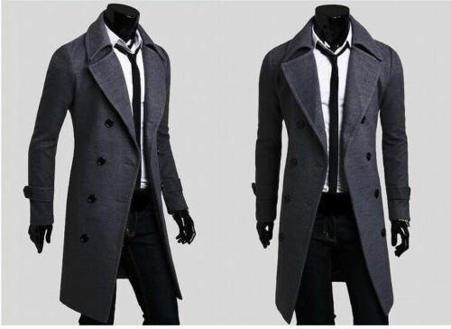 Mens Winter Warm Trench Coat Breasted Overcoat Jacket Outwear