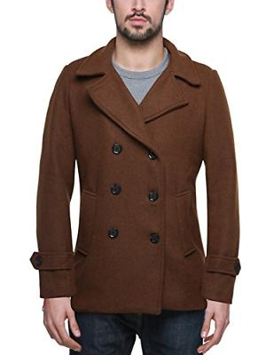 Match Mens Wool Blend Classic Pea Coat Winter Coats 010 Brown,