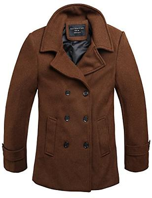 Match Mens Wool Classic Pea Coats Brown,