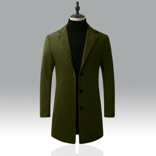 Mens Wool Trench Coats Button Coat Warm Jacket