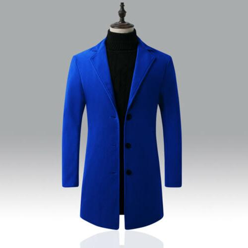 Mens Wool Winter Trench Coats Button Slim Warm Jacket