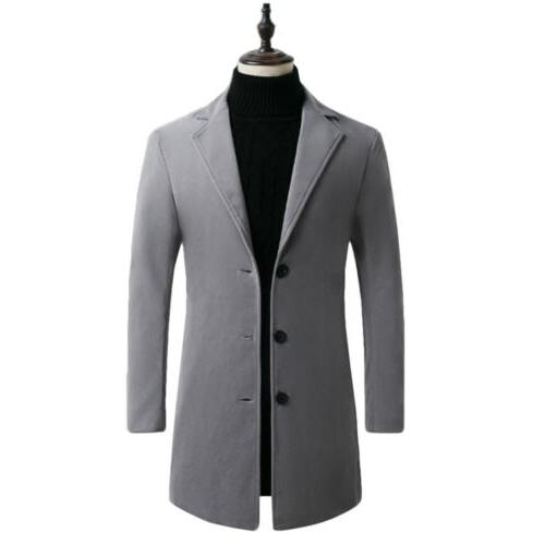 Mens Winter Trench Button Slim Jacket