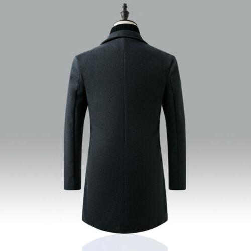Mens Coat Trench Button Jacket