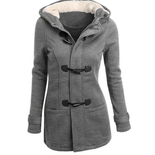 Multicolor Women Thickened Coats Winter Button Ladies Hooded