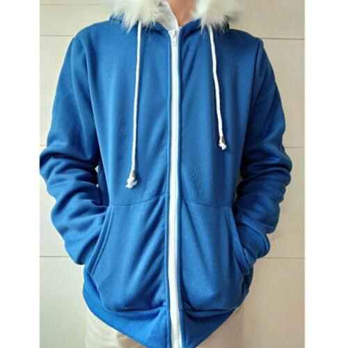 New Men's Zipper Winter Warm Tops Coat Blue