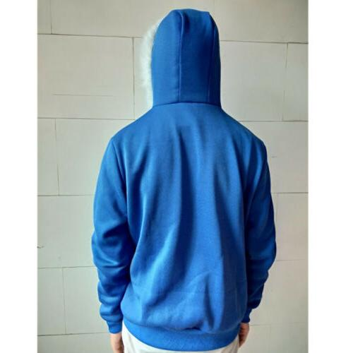 New Hoodies Zipper Warm Tops Blue
