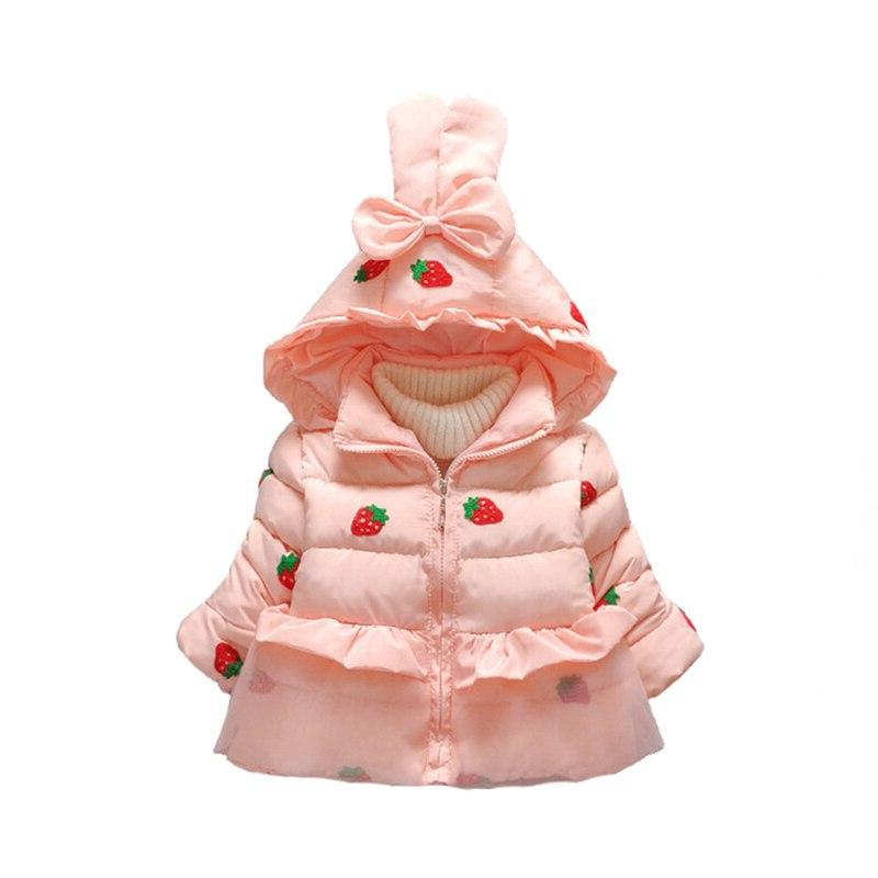 New Girl <font><b>Winter</b></font> Jacket Strawberry Hooded Thick <font><b>Coat</b></font> 2T <font><b>3T</b></font>