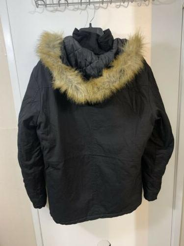 Parka Coat Warm Jacket With Fur L