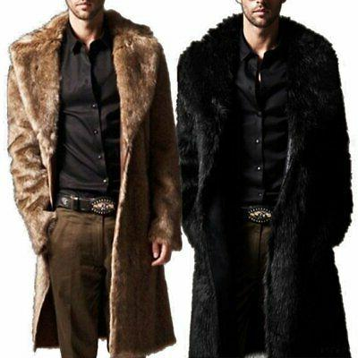 new mens winter warm faux fur overcoat