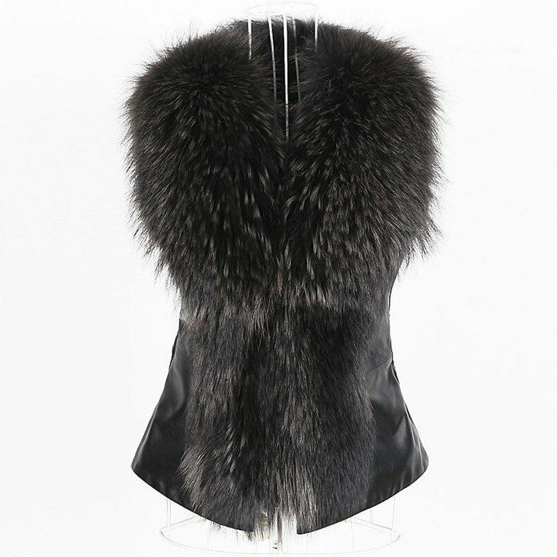New Fur Leather Women Coats Sleeveless Jackets