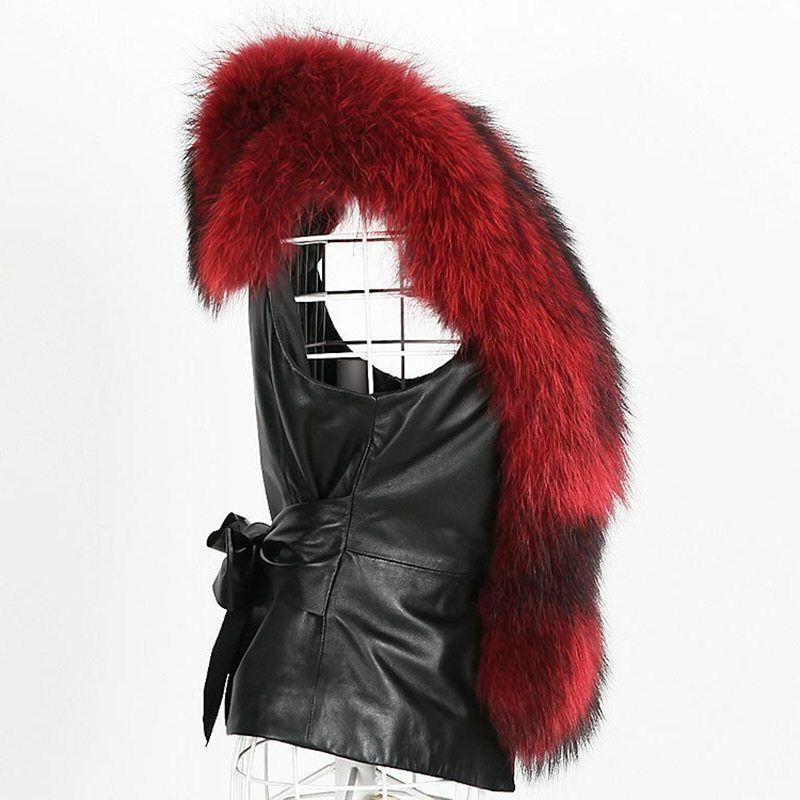 New Plus Size Fur Leather Women Winter Coats Sleeveless Collar Vest Jackets