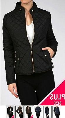 NEW Plus Size Quilted Winter Jacket Coat Zip Front Fitted- L