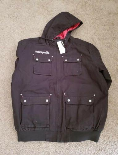 NEW Snap Mens Insulated Coat Up Jacket canvas w/hoodie
