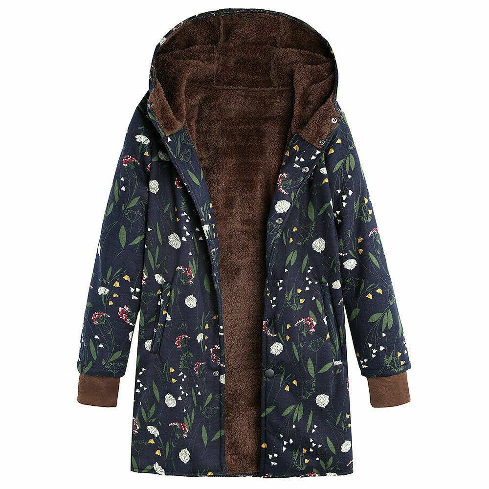 Outwear Print Hooded Pockets Vintage Oversize Coats