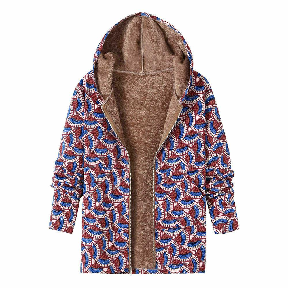New Women Winter Outwear Floral Print Pockets Vintage Oversize Coats