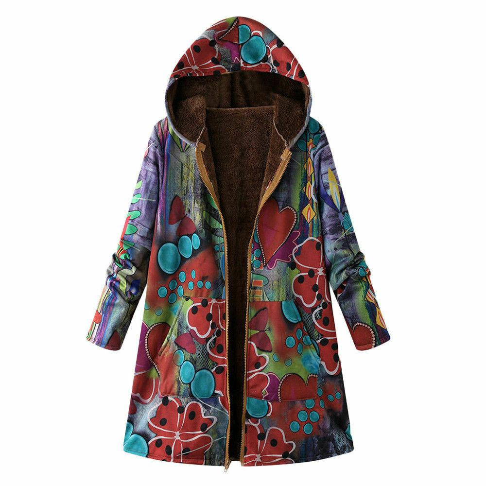 New Women Winter Outwear Floral Pockets Oversize Coats