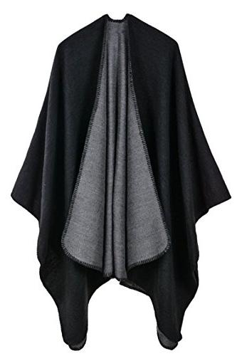 oversized cashmere knitted poncho cape
