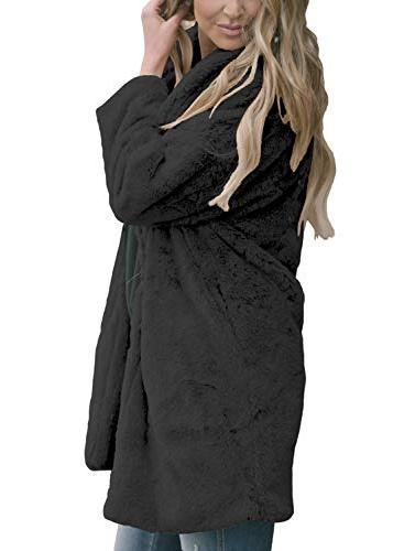 Womens Open Front Cardigan Coat Casual Long Winter Outerwear Jacket with Pockets Small