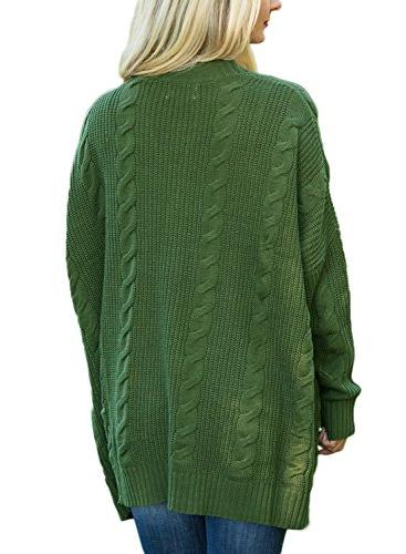 Dearlove Oversized Sleeve Open Knit Cardigan Pocket Green S