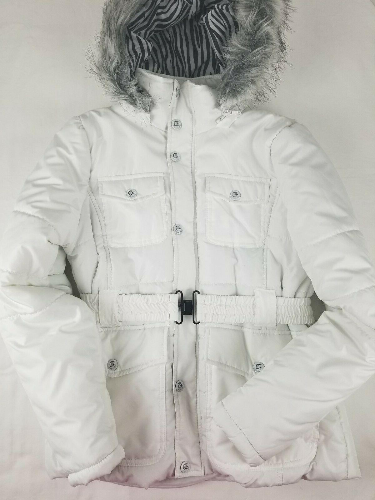 padded white coat size m with faux