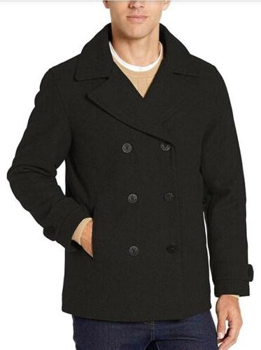 peacoat double breasted mens xl black pea
