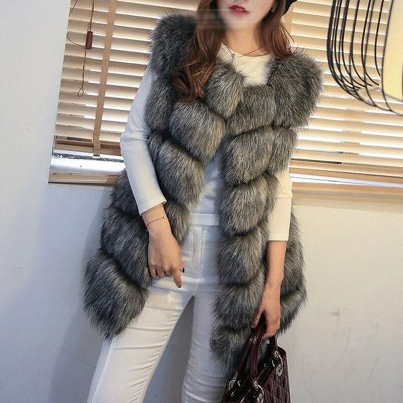 Plus Size Ladies Faux Fur Vest Matching Winter Warm