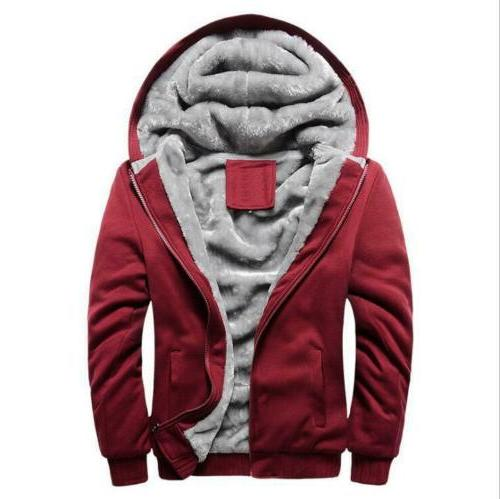 Plus Winter Hooded Coat Lined Zip Jacket Sweatshirt