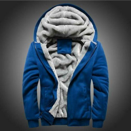 Plus Size Men's Winter Hooded Coat thick Lined Zip Sweatshirt