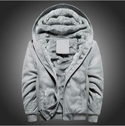 Plus Men's Winter Hooded thick Lined Hoodie Sweatshirt