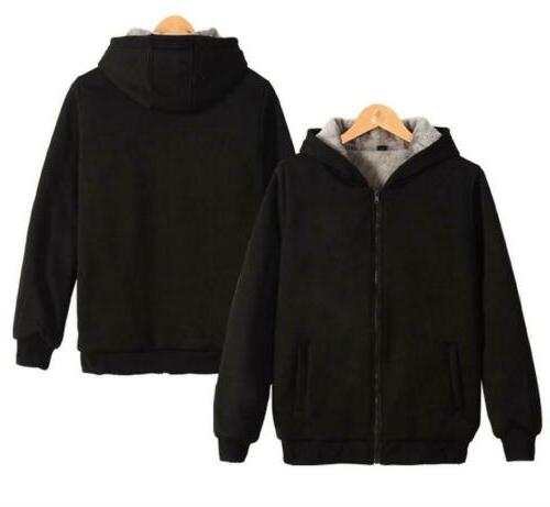 Plus Size Men's Winter Hooded Lined Hoodie Sweatshirt