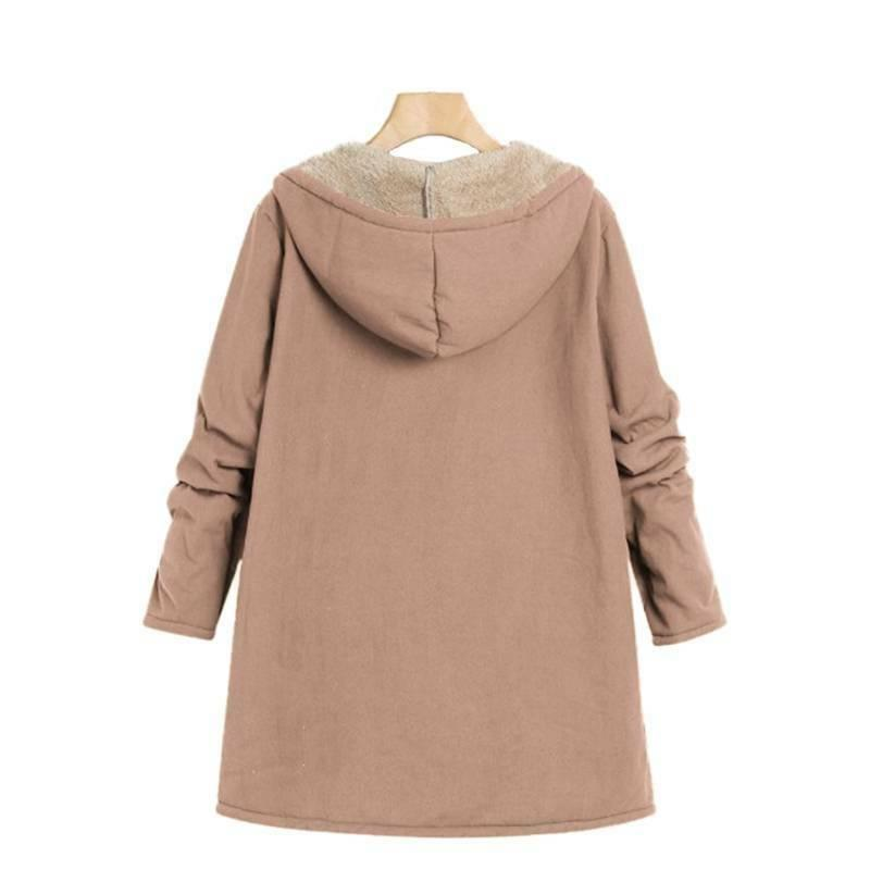 Plus Size Long Sleeve Zip Winter Fleece Outwear