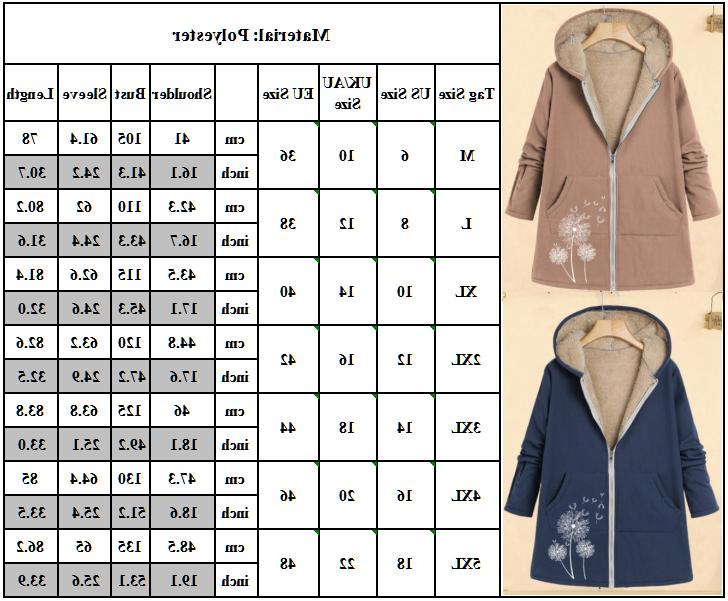 Plus Size Women Sleeve Hooded Coat Winter Fleece Jacket Outwear