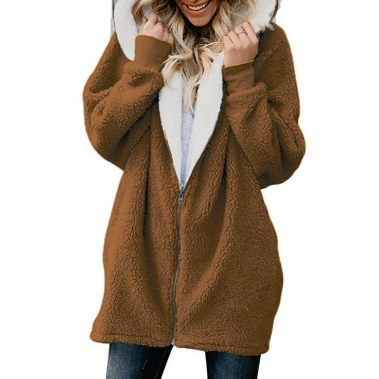 Plus Women's Fuzzy Fluffy Jacket Hoodie Outwear