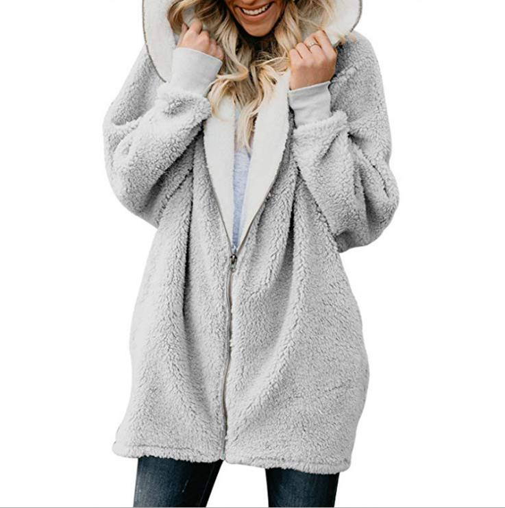 Plus Women's Fluffy Coat Fur Jacket Hoodie