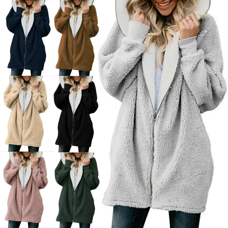 Plus Size Women's Fluffy Coat Jacket Warm Outwear Winter