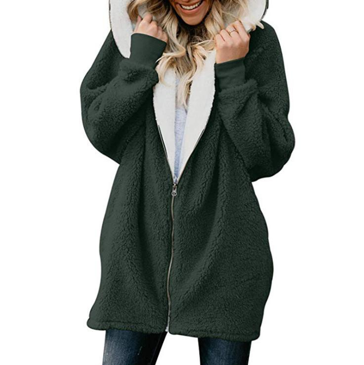 Plus Size Fluffy Fleece Jacket Hoodie Winter
