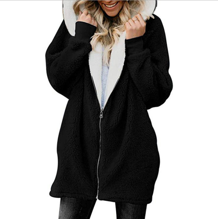 Plus Size Fuzzy Fluffy Jacket Winter