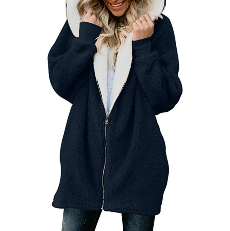 Plus Fluffy Fur Jacket Hoodie Warm Winter